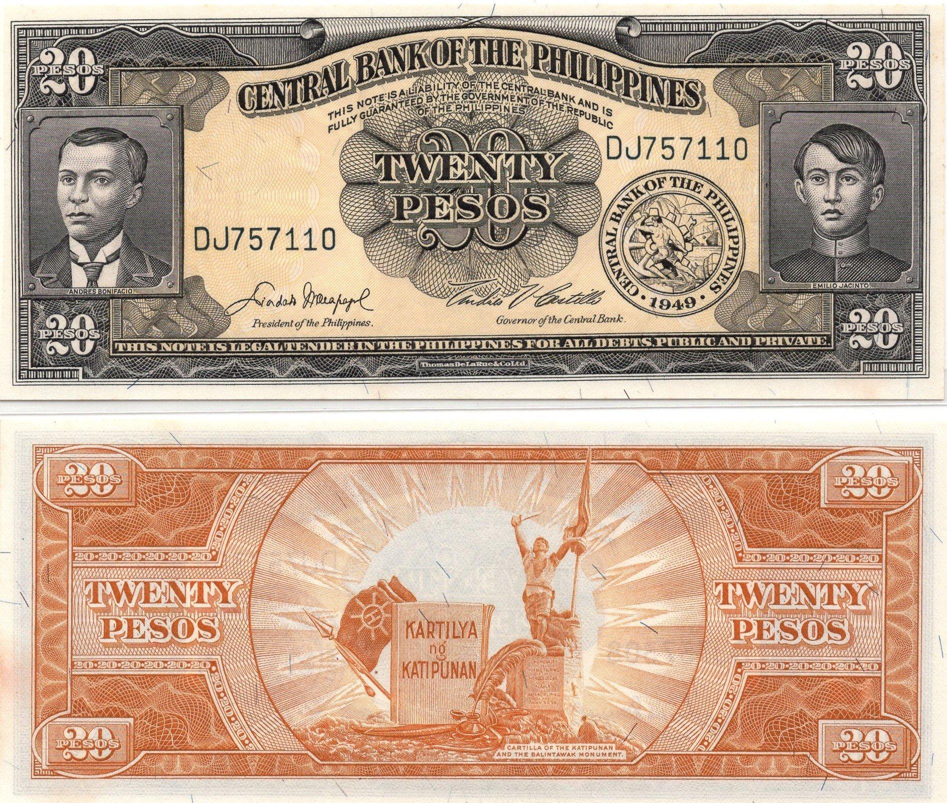 phulipines 20 pesos 1949
