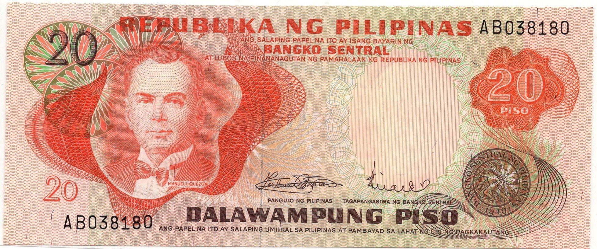 philipines 20 pesos 1969