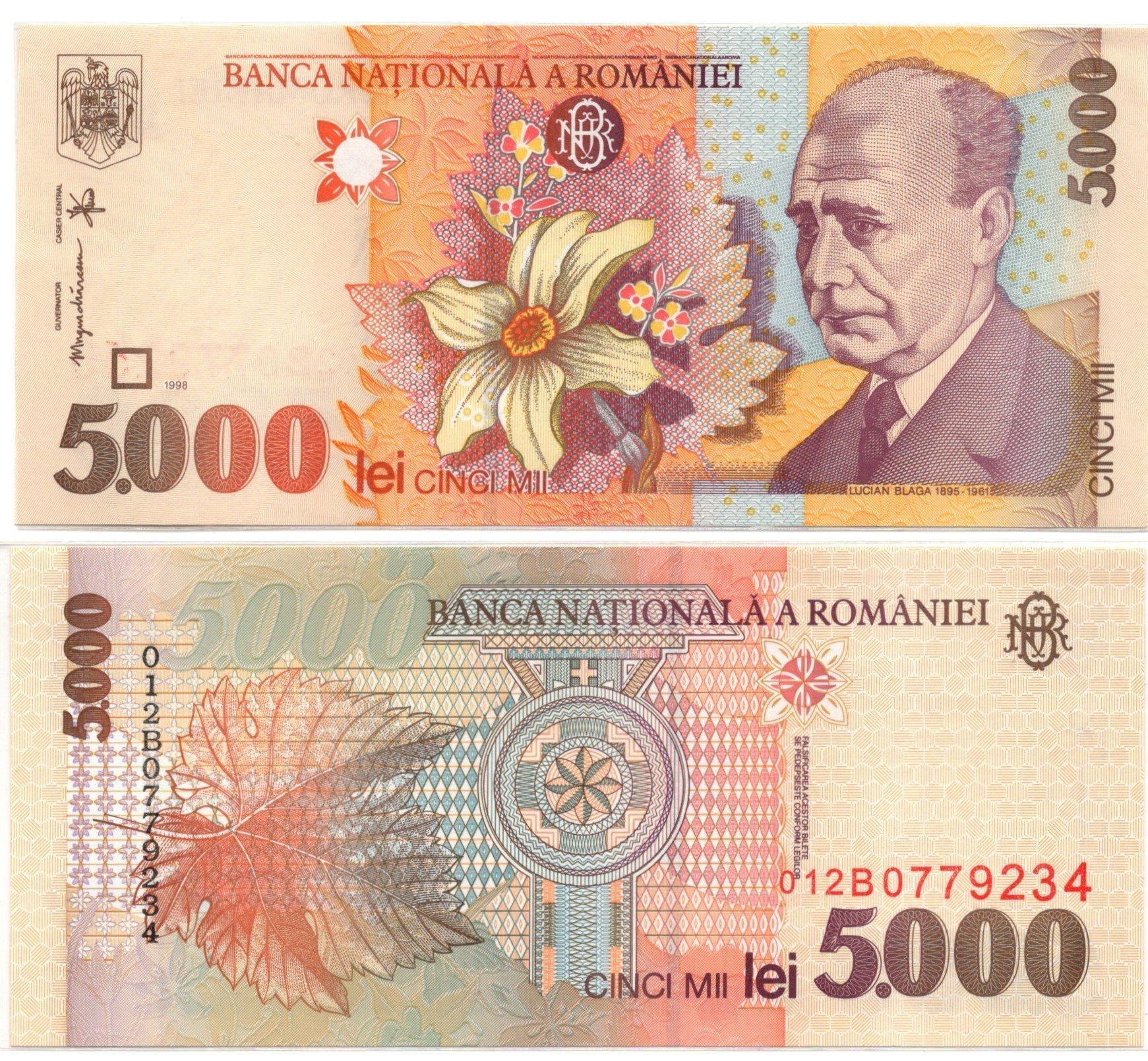 romania 5000 lei 1998