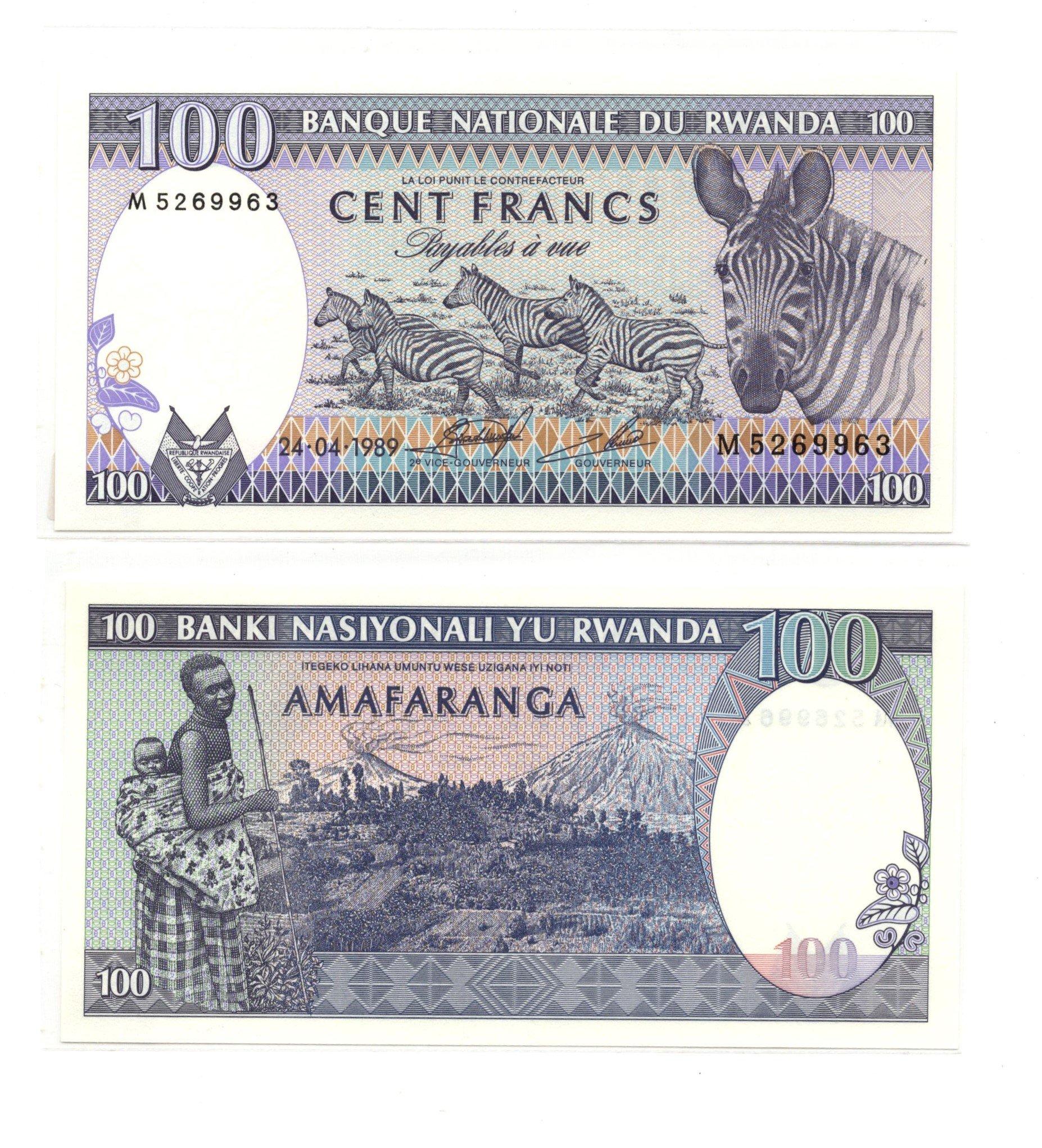 rwanda 100 francs 1989