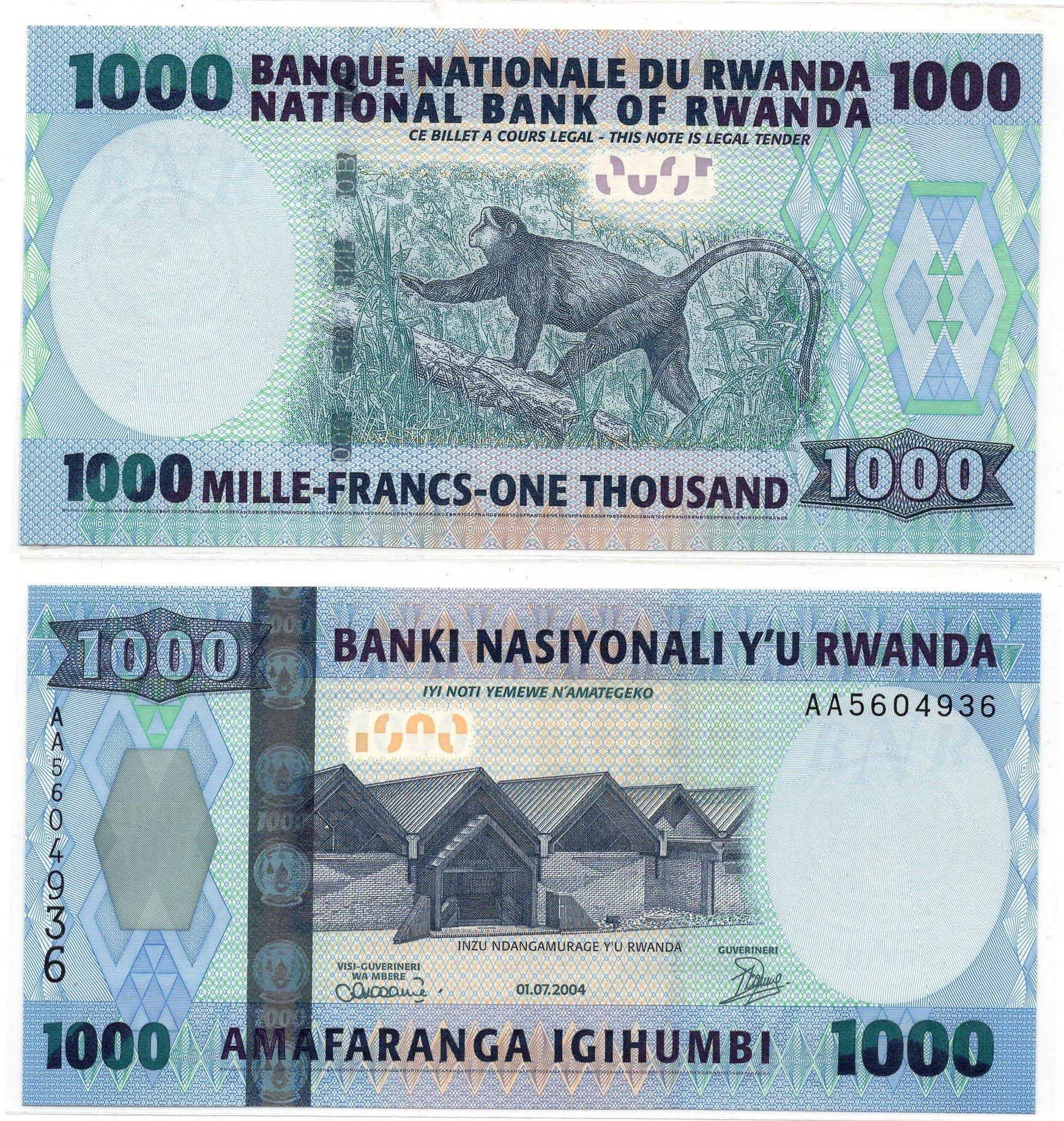 rwanda 1000 francs 2004