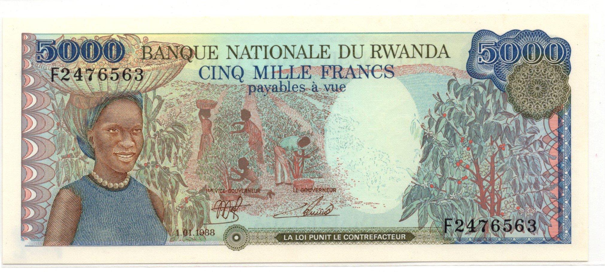 rwanda 5000 francs 1988