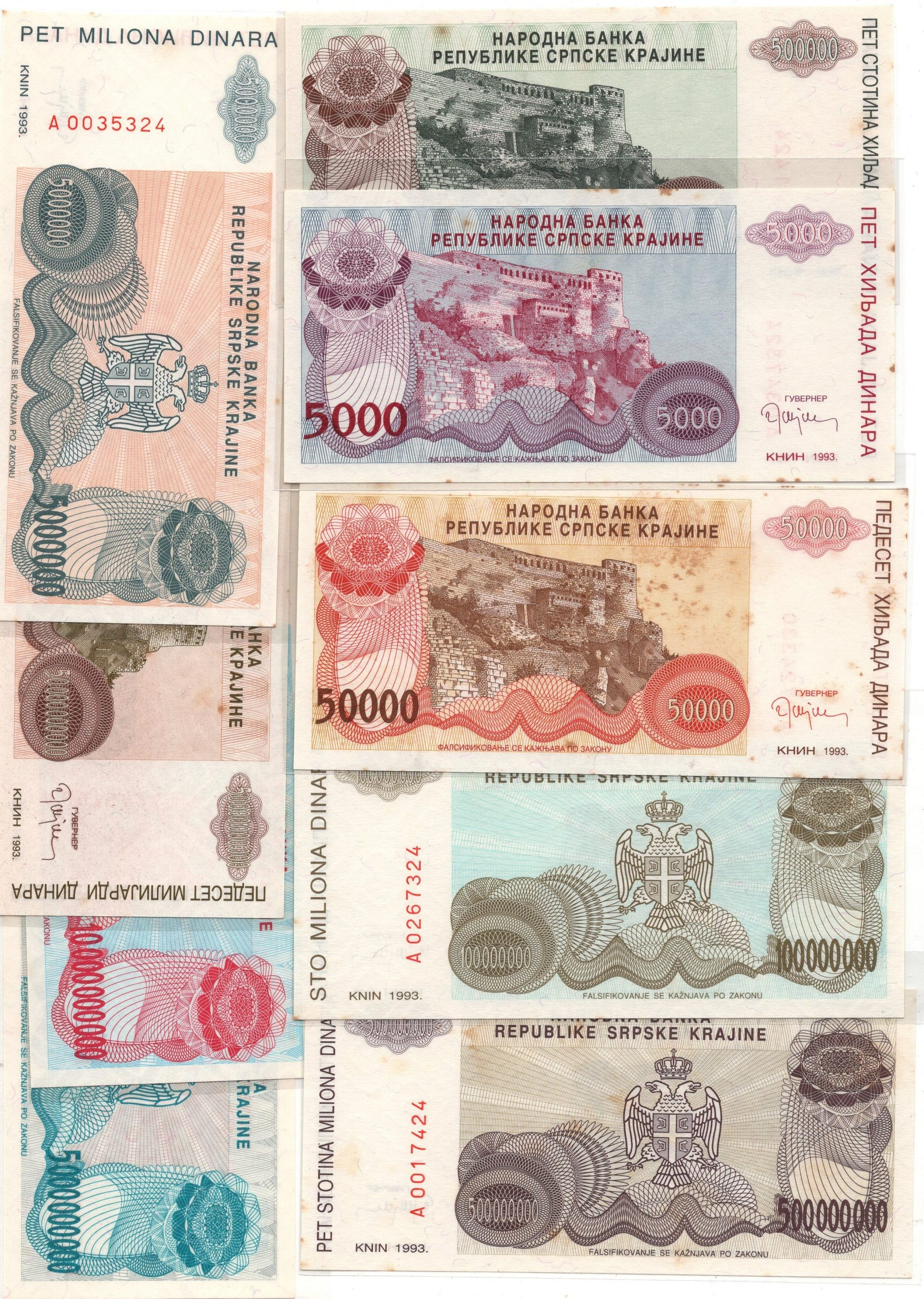 Serbia banknote set for sale