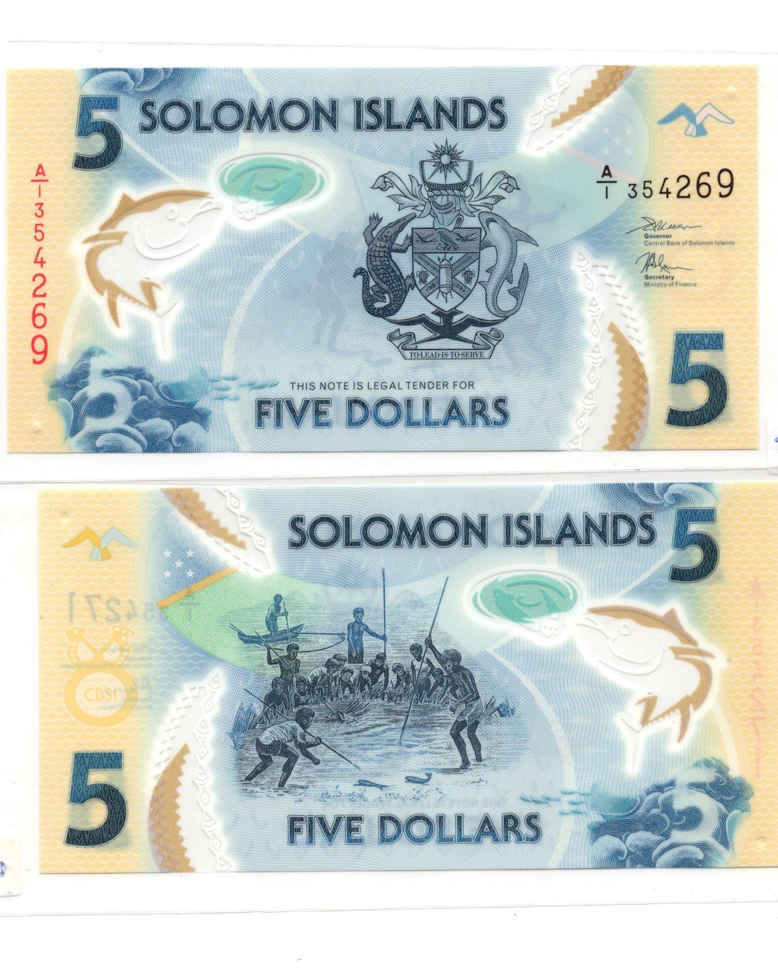 Solomon islands 5 dollars polymer