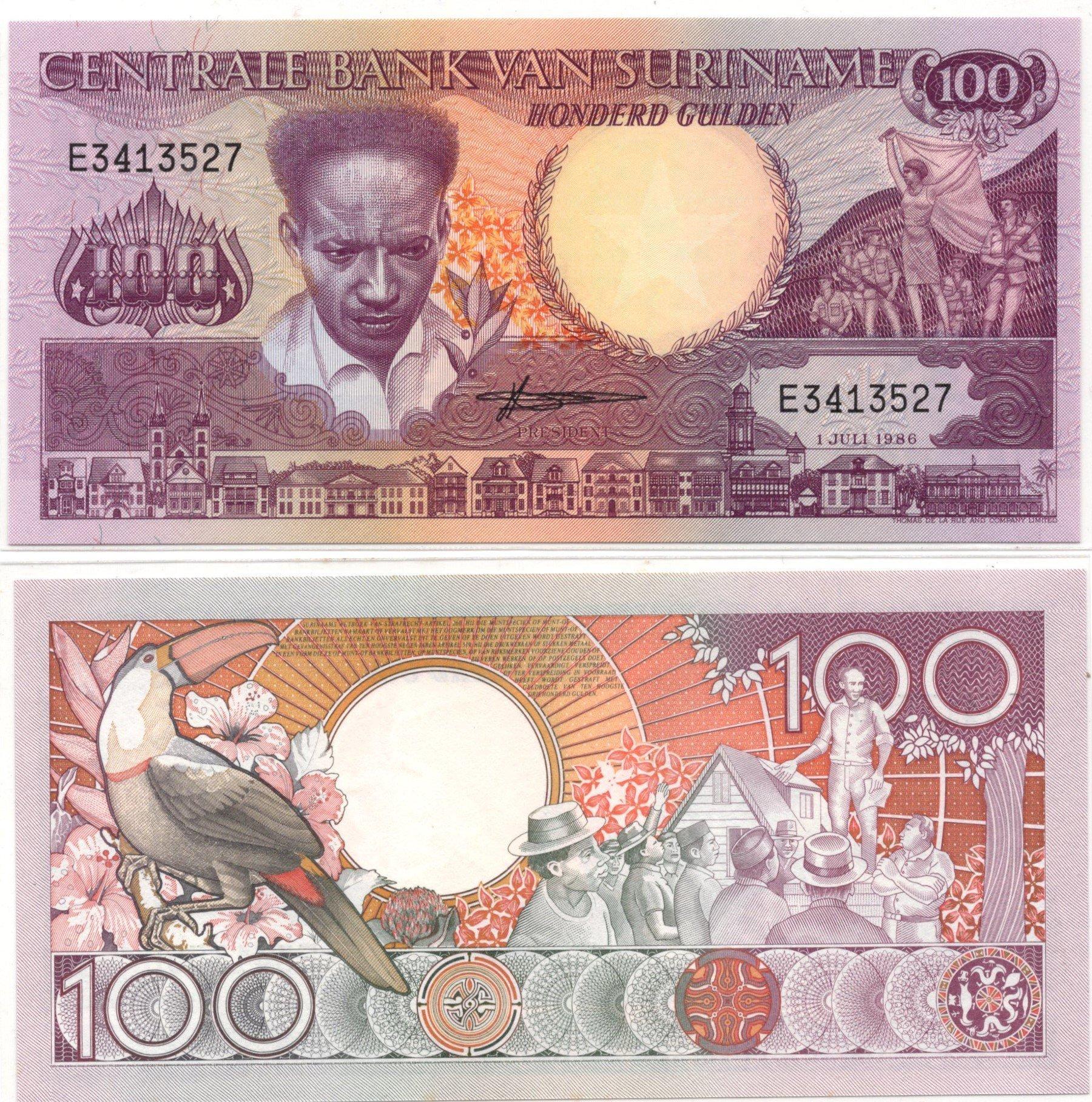 suriname 100 gulden 1986
