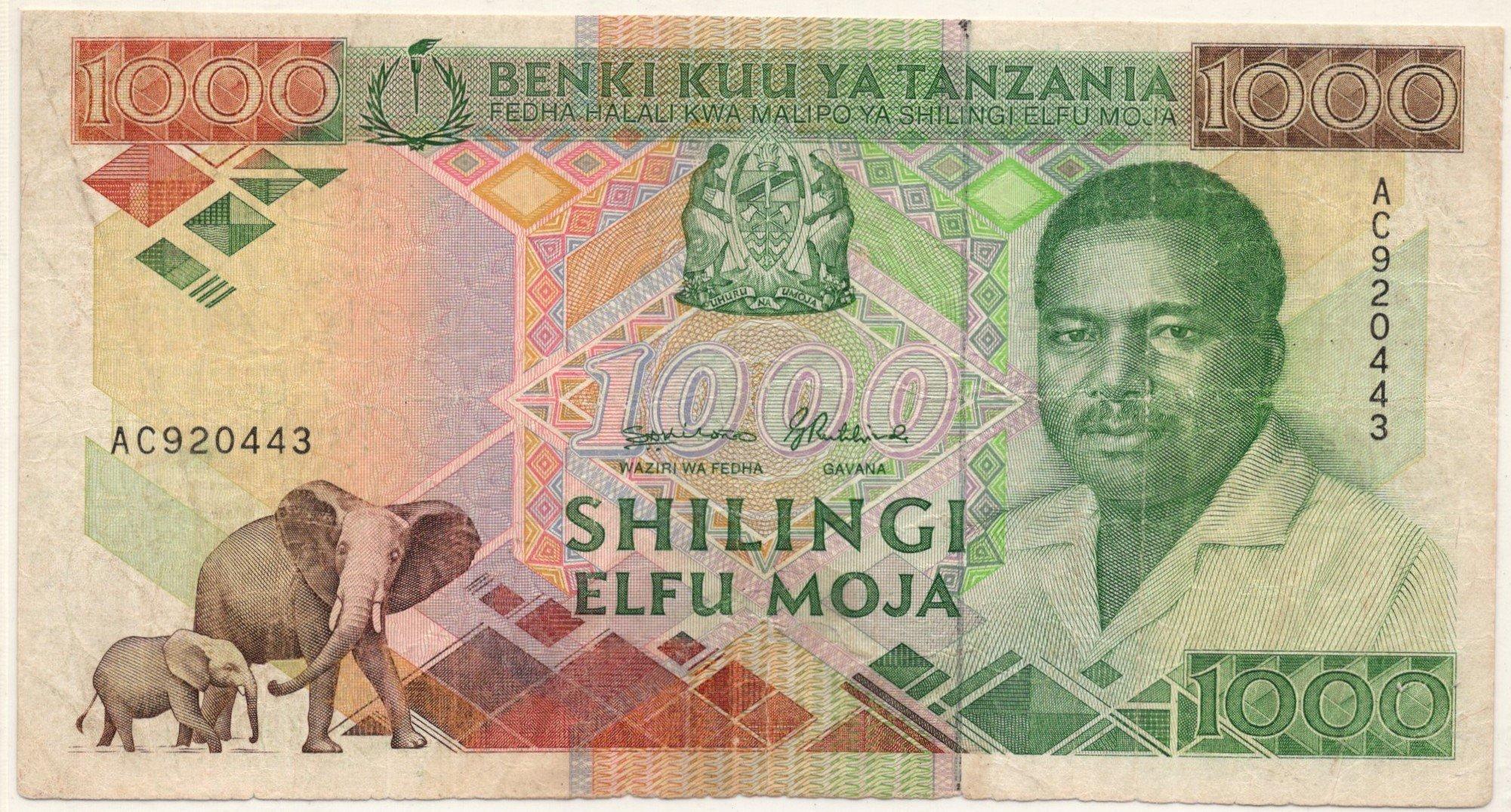 Tanzania 1000 shillings banknote for sale