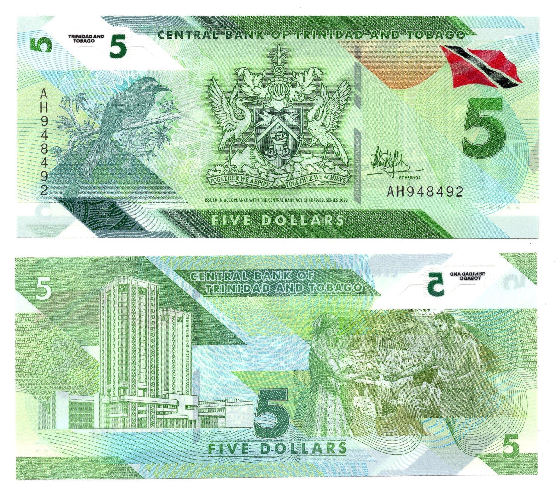 Trinidad and tobago 5 dollars banknote for sale
