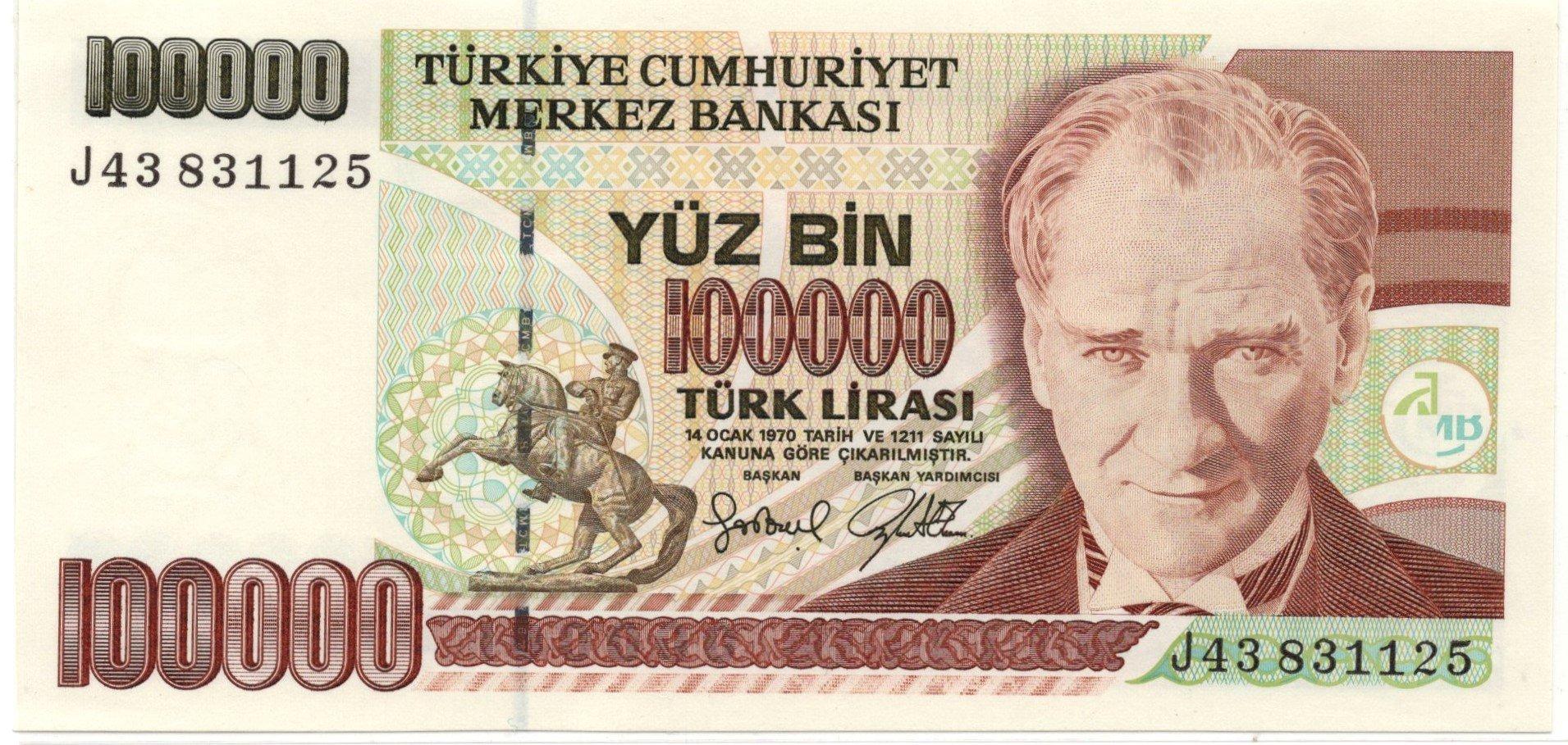 turkey 100000 lirasi