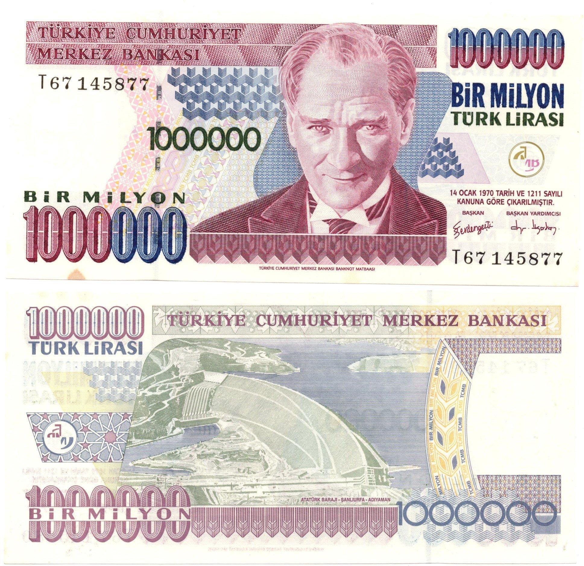 turkey 1000000 lirasi banknote