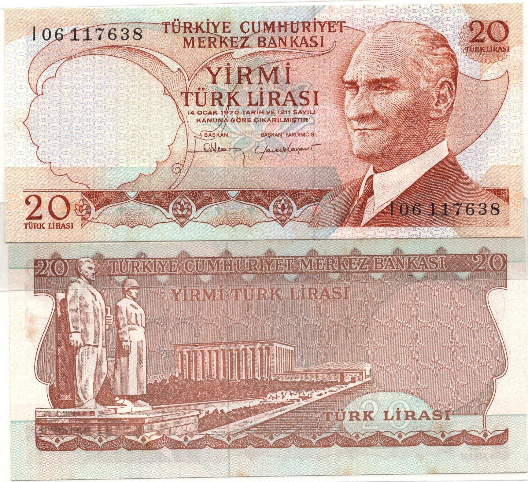 Turkey 20 lirasi 1970 banknote for sale