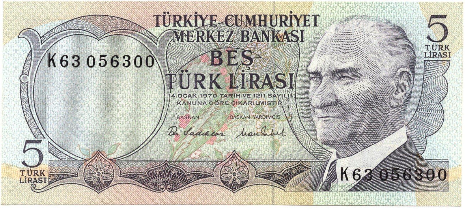 Turkey 5 lirasi 1970
