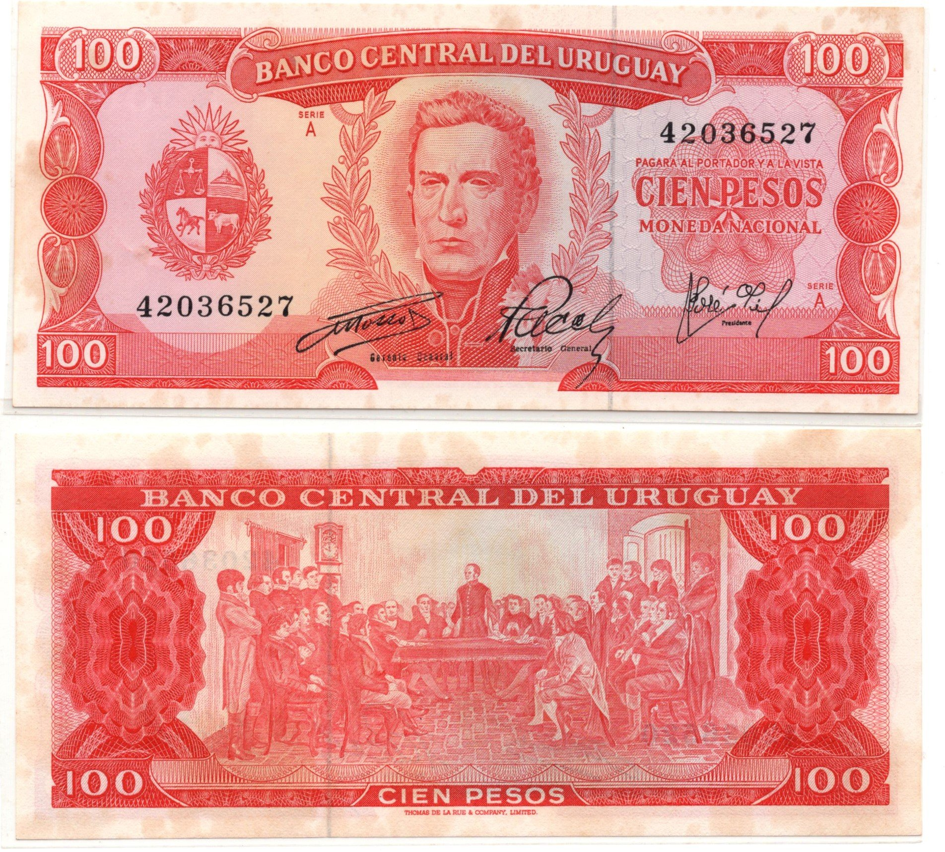 Uruguay 100 pesos 1967 banknote for sale