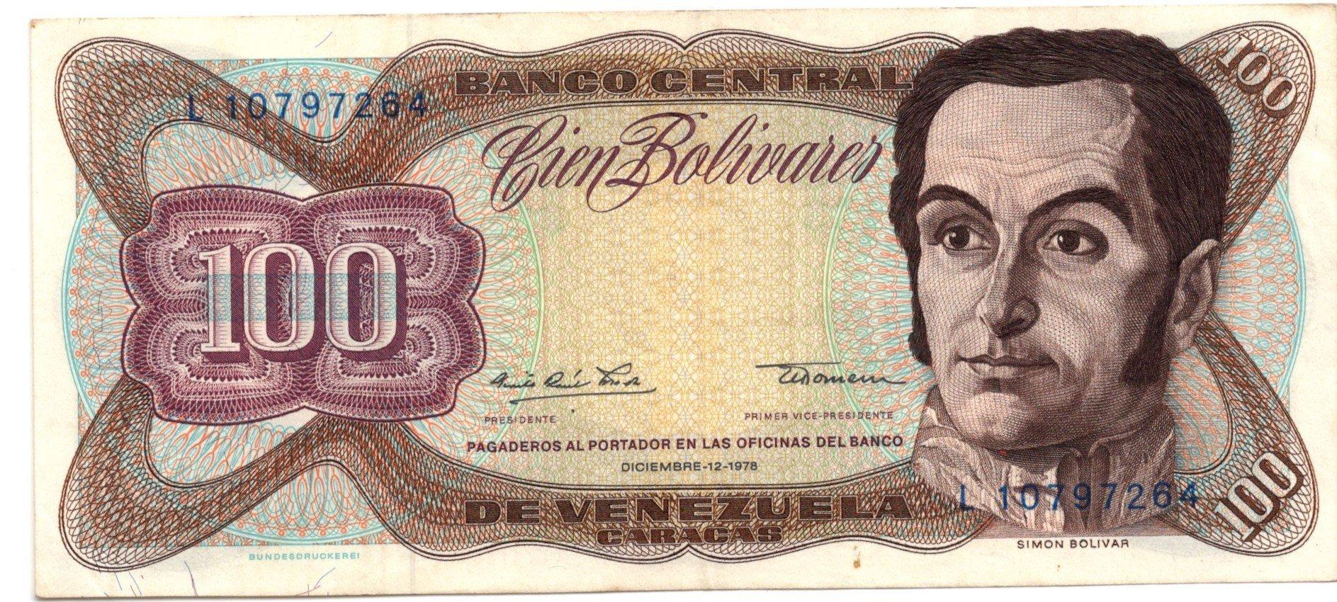 venezuela 100 bolivares 1978 banknote for sale