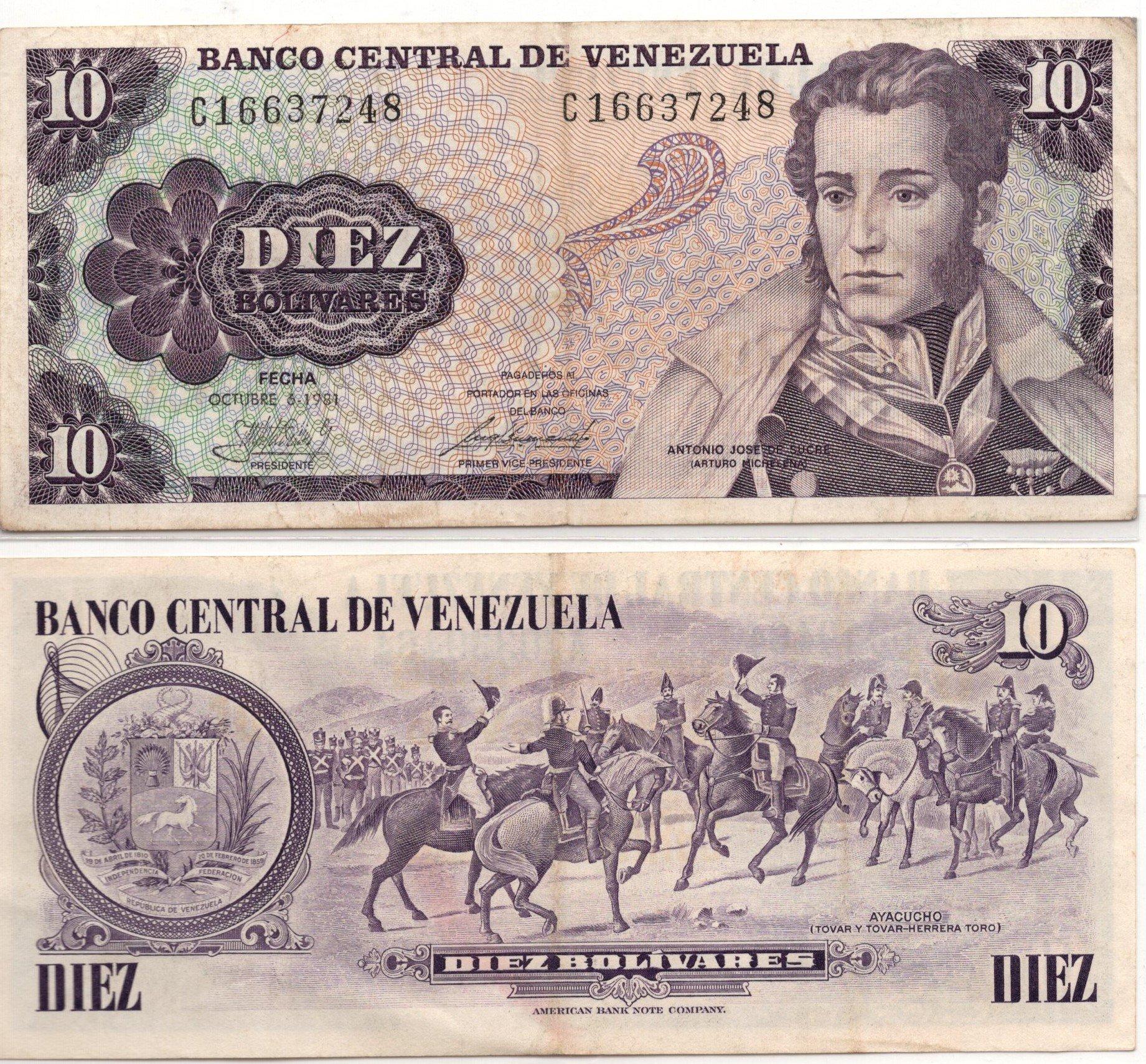 Venezuela 10 bolivares P60 banknote for sale