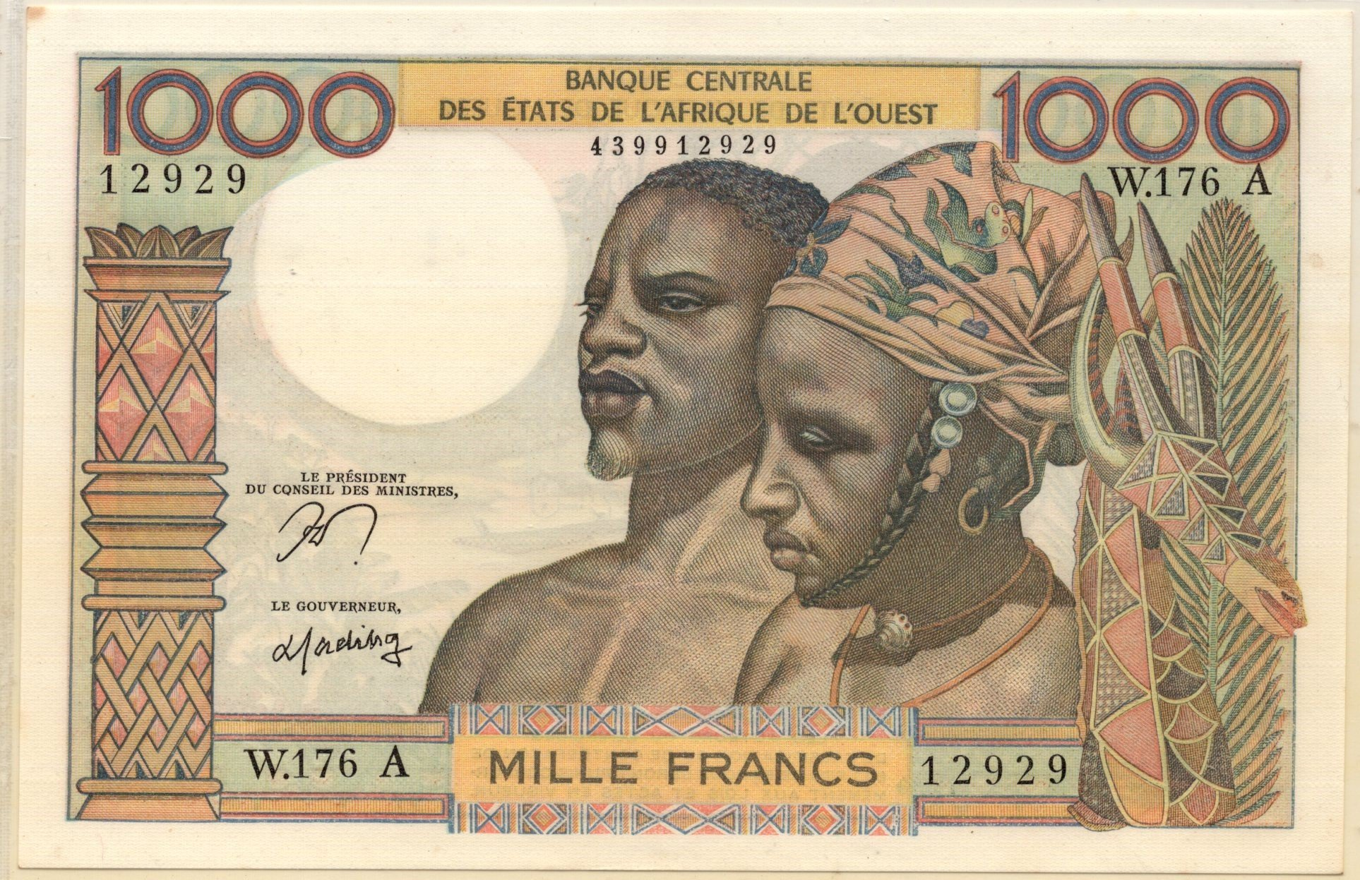 West African States 1000 francs banknote