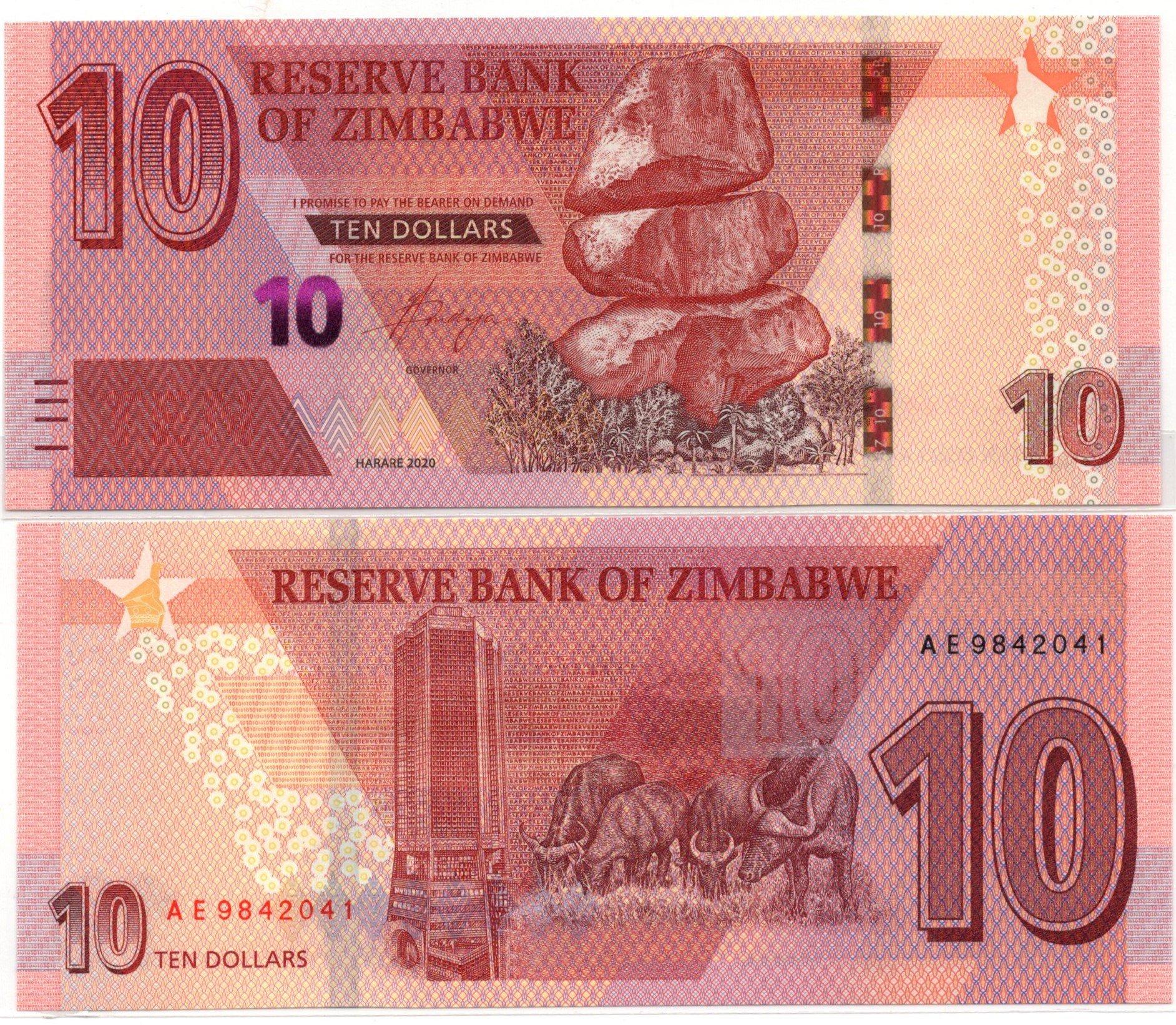 Zimbabwe 10 dollars 2020 banknote