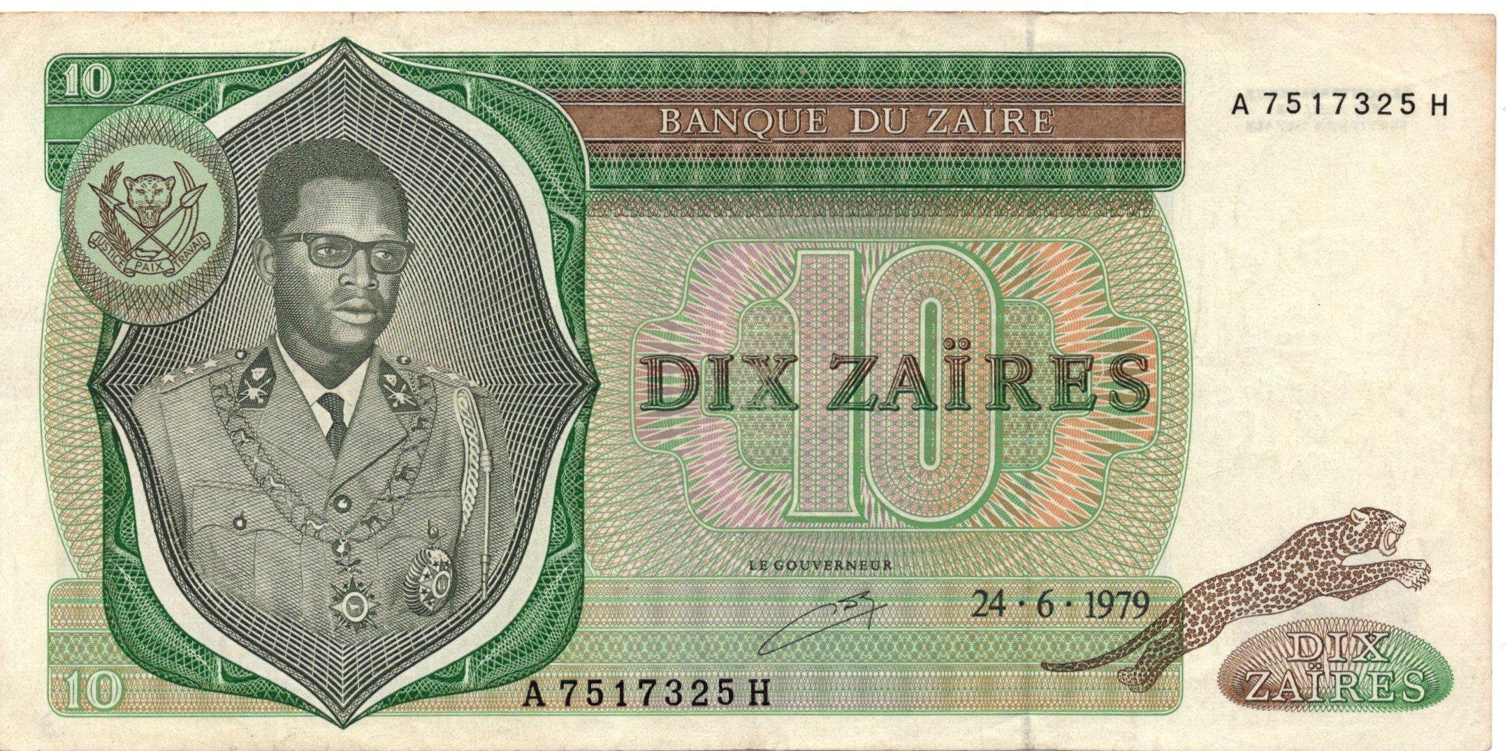 Zaire 10 zaires banknote