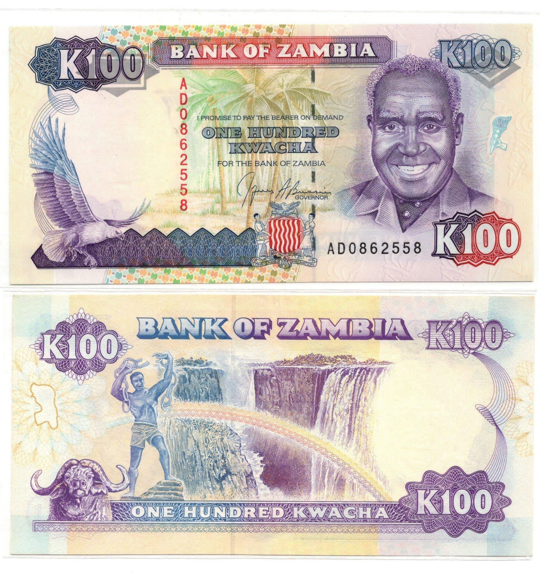 Zambia 100 kwacha banknote sale