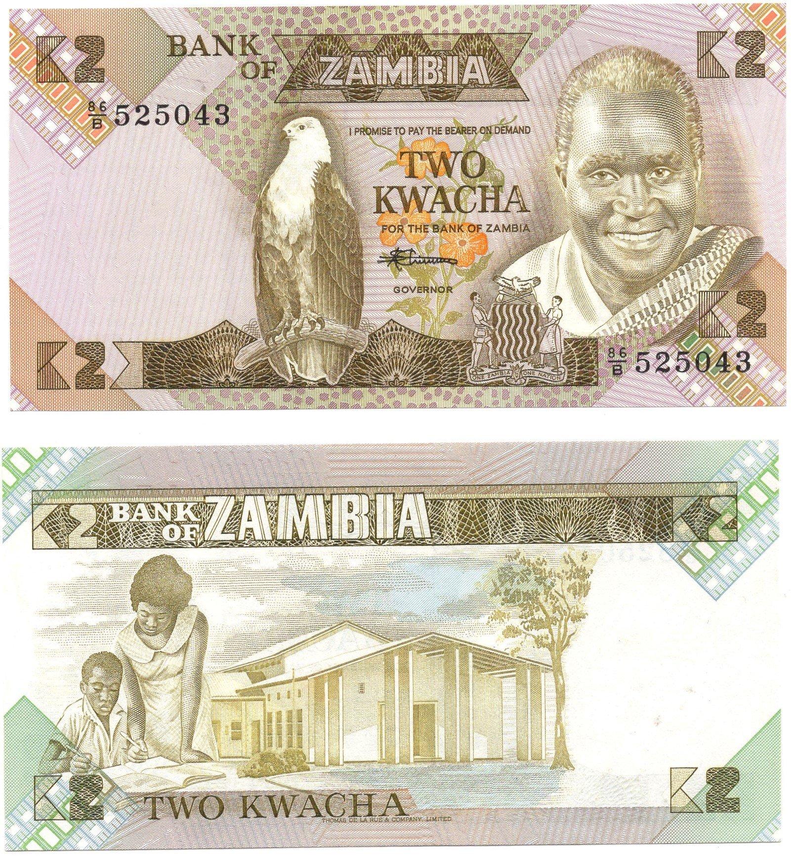 Zambia 2 kwacha banknote for sale
