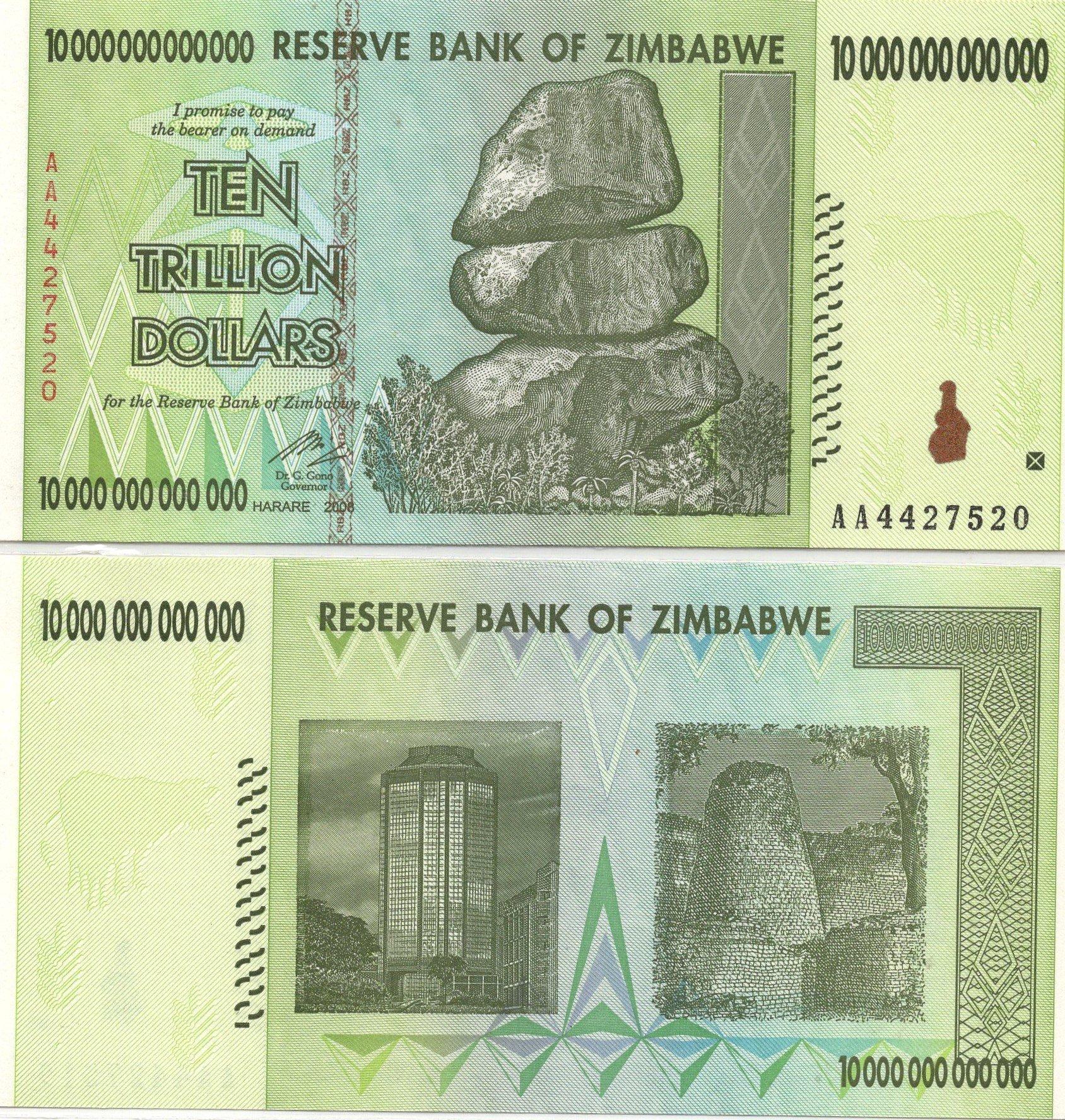zaimbabwe 10 trillion 2008