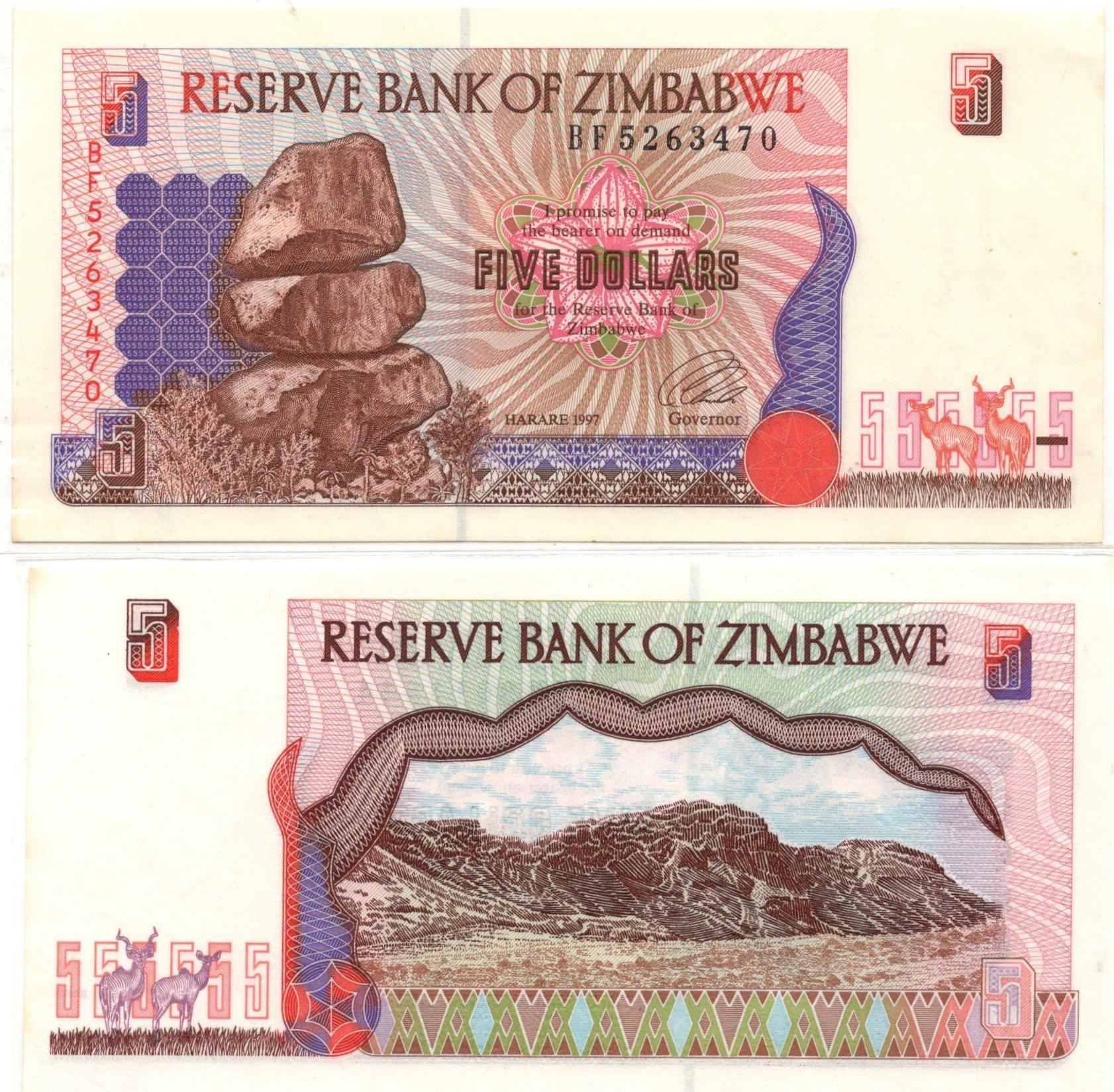 Zimbabwe 5 dollars 1997 banknote
