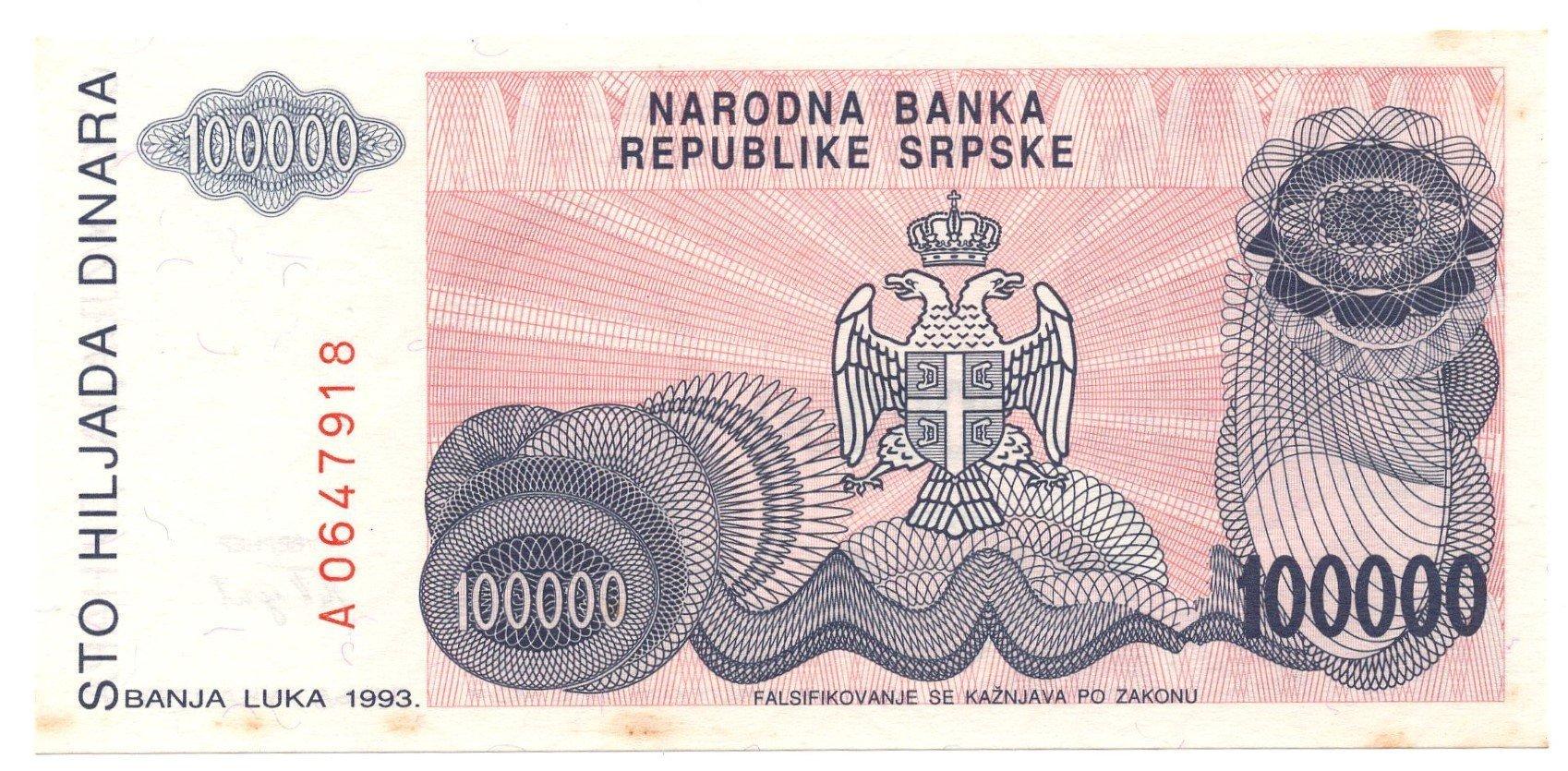 bosnia herzogovina 10000 dinara 1993