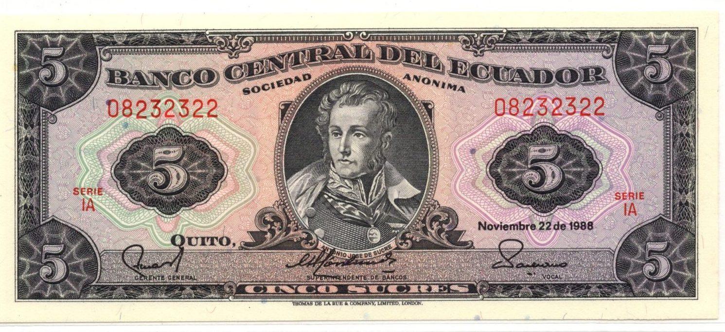 Ecuasdor 5 sucres banknote for sale