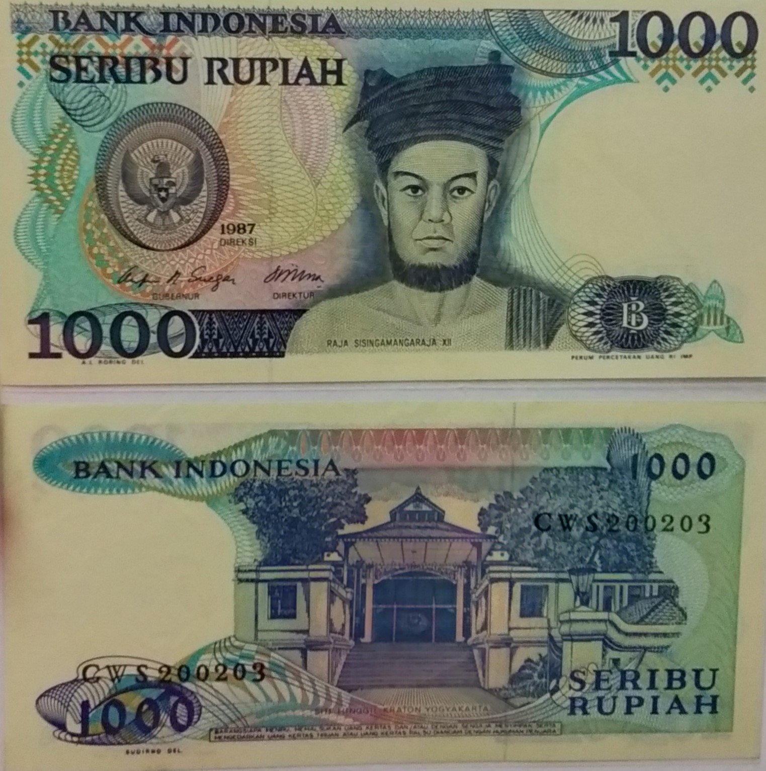 Indonesia 1000 rupiah 1987 banknote for sale