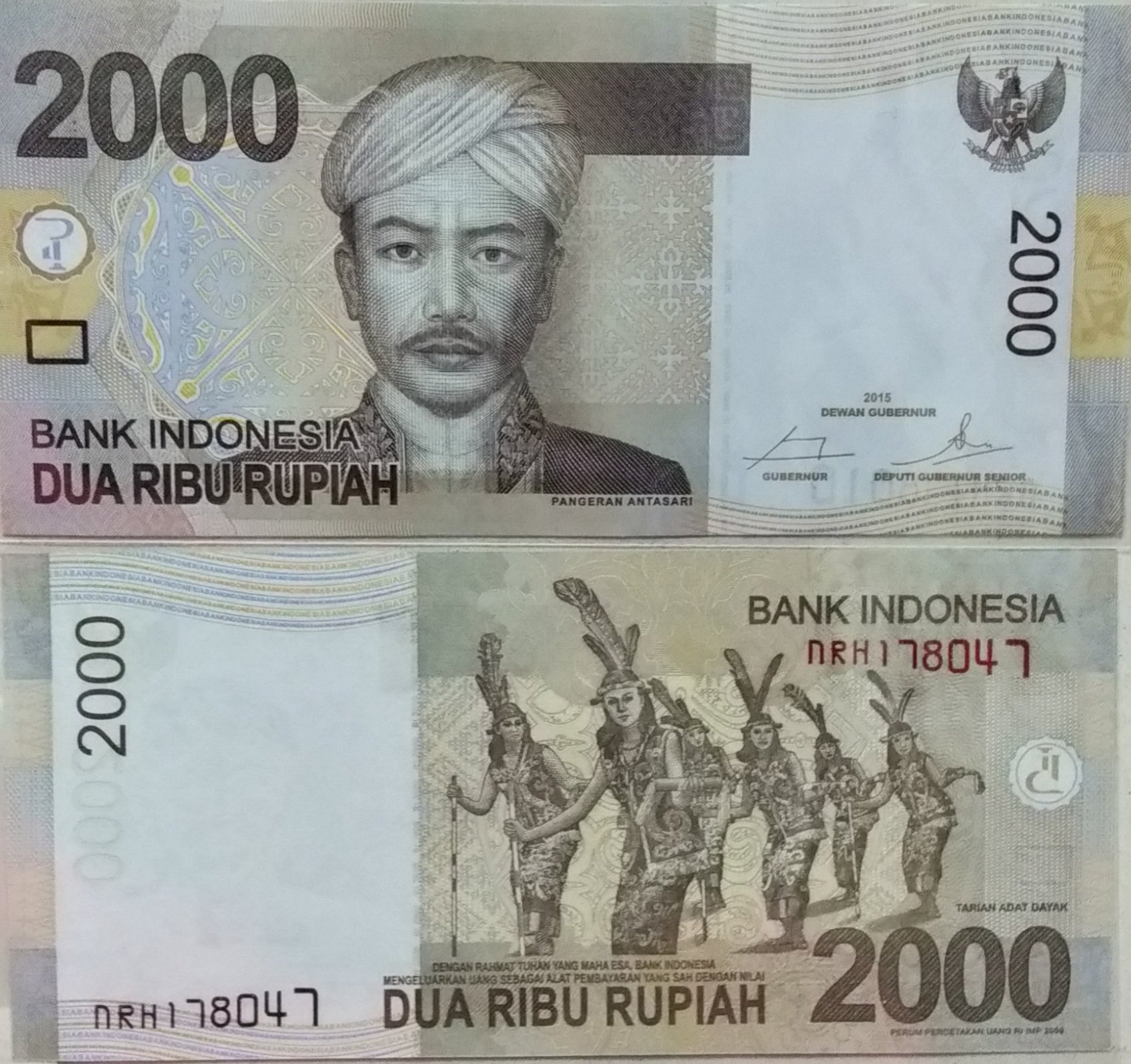 Indonesia 2000 rupiah 2015 banknote for sale