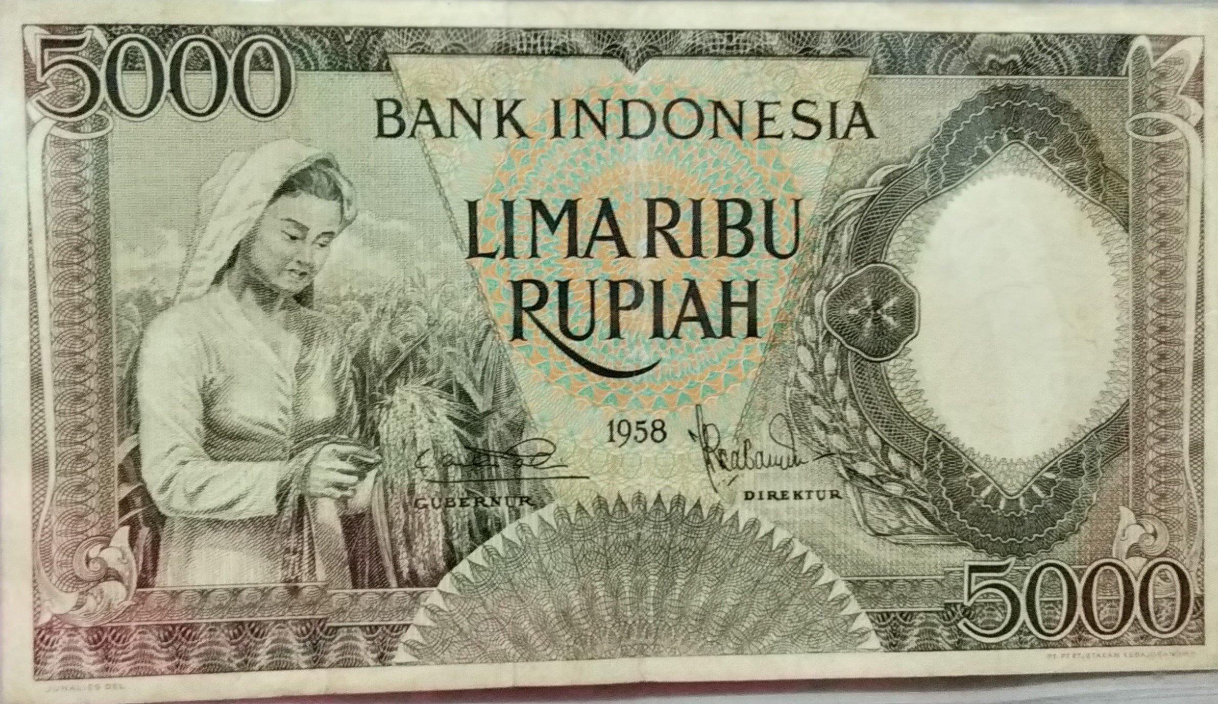 Indonesua 5000 rupiah 1958 banknote for sale