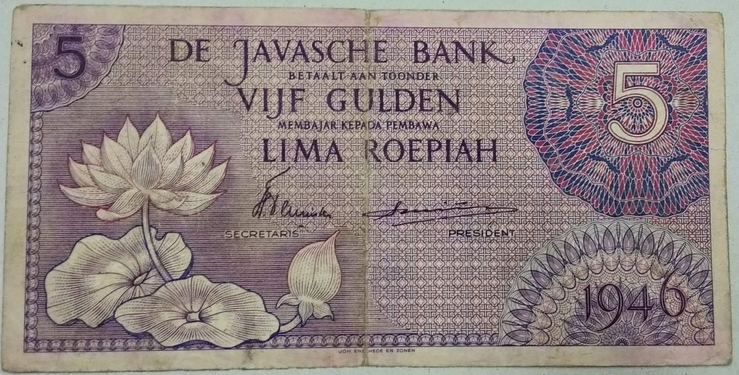 Netherlands Indie 5 roepiah 1946 banknote for sale