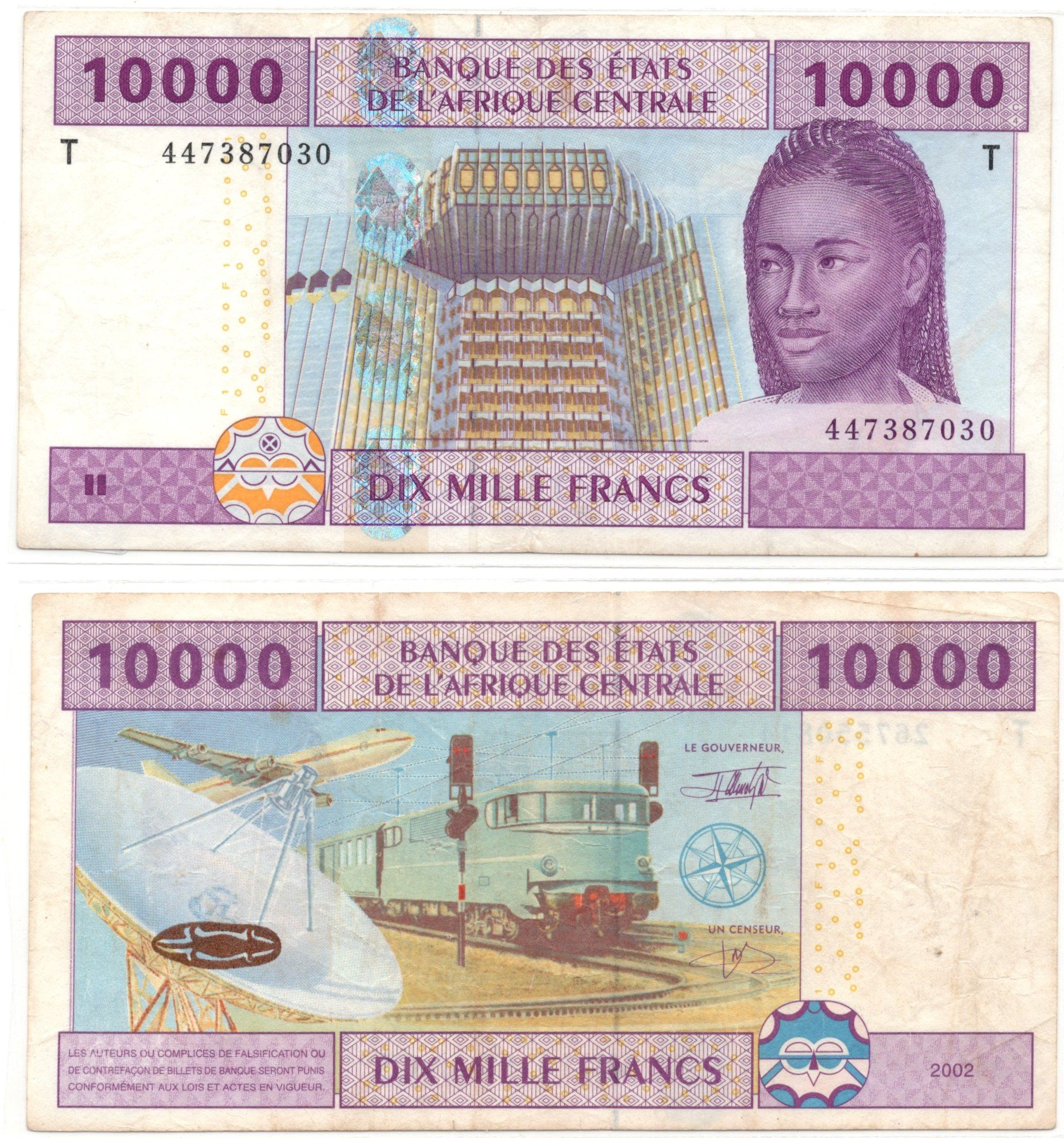 Central African States 10000 francs 2002
