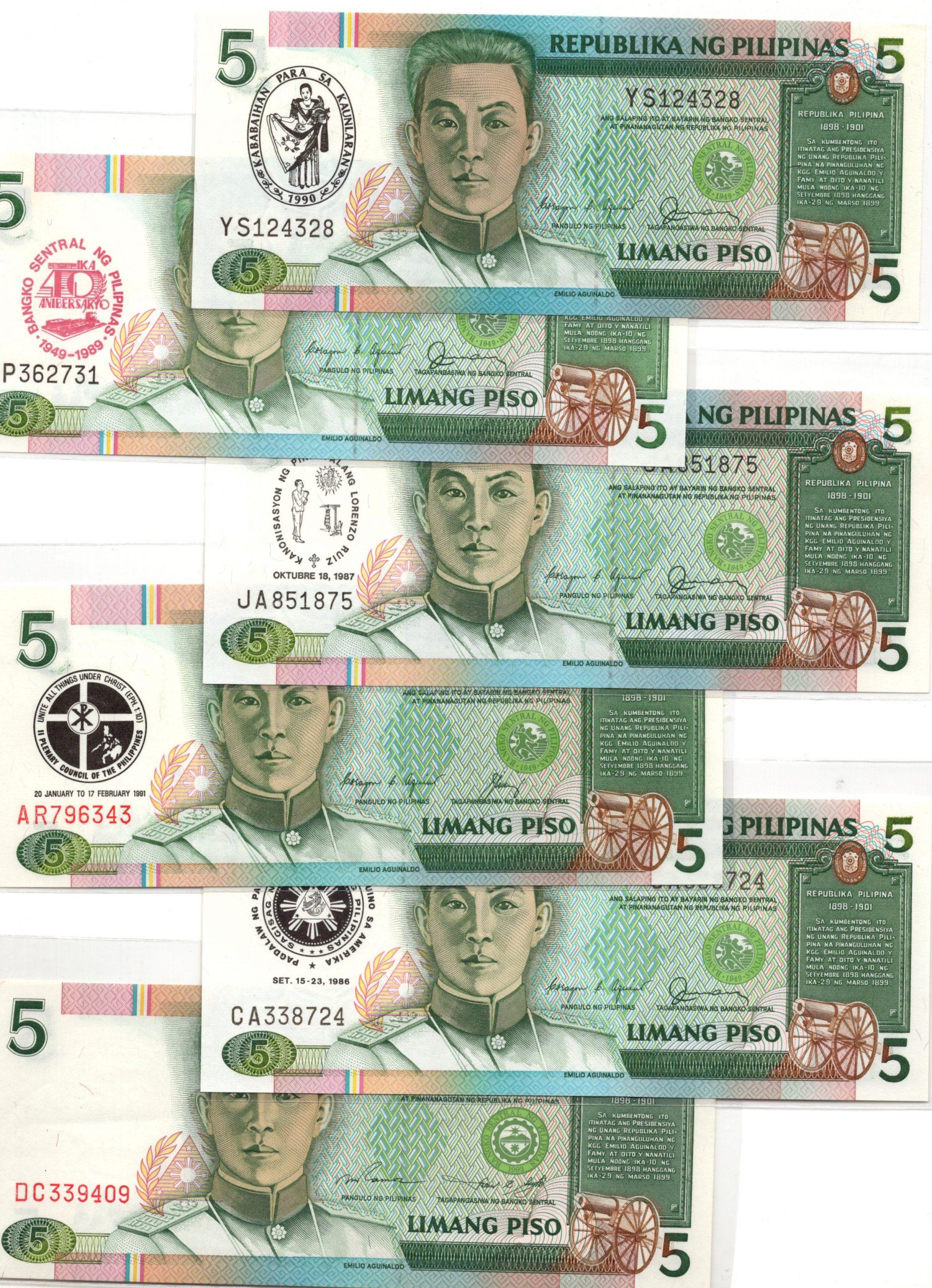 Philippines 5 pesos comm set