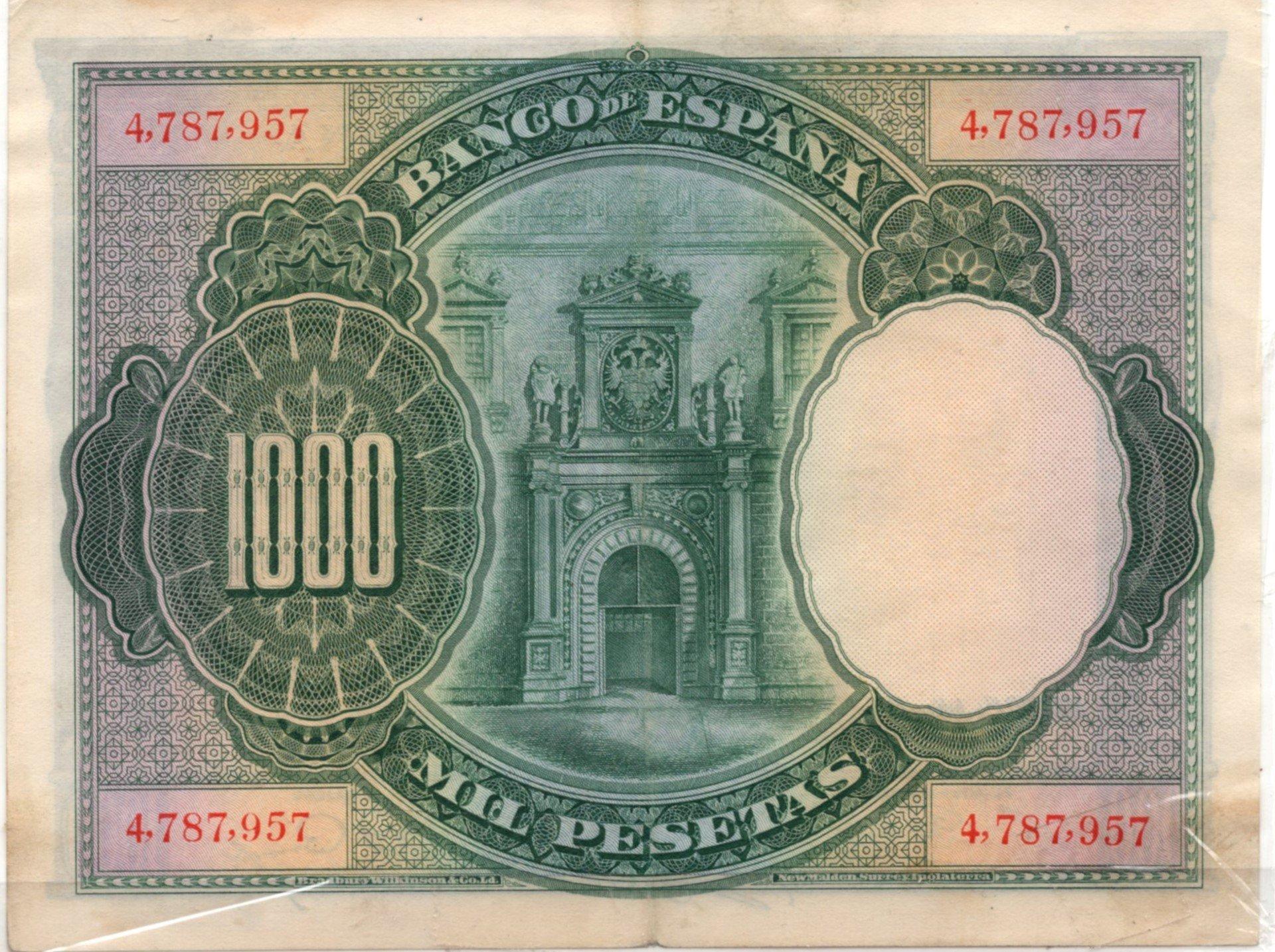 Spain 1000 pesetas 1965 back