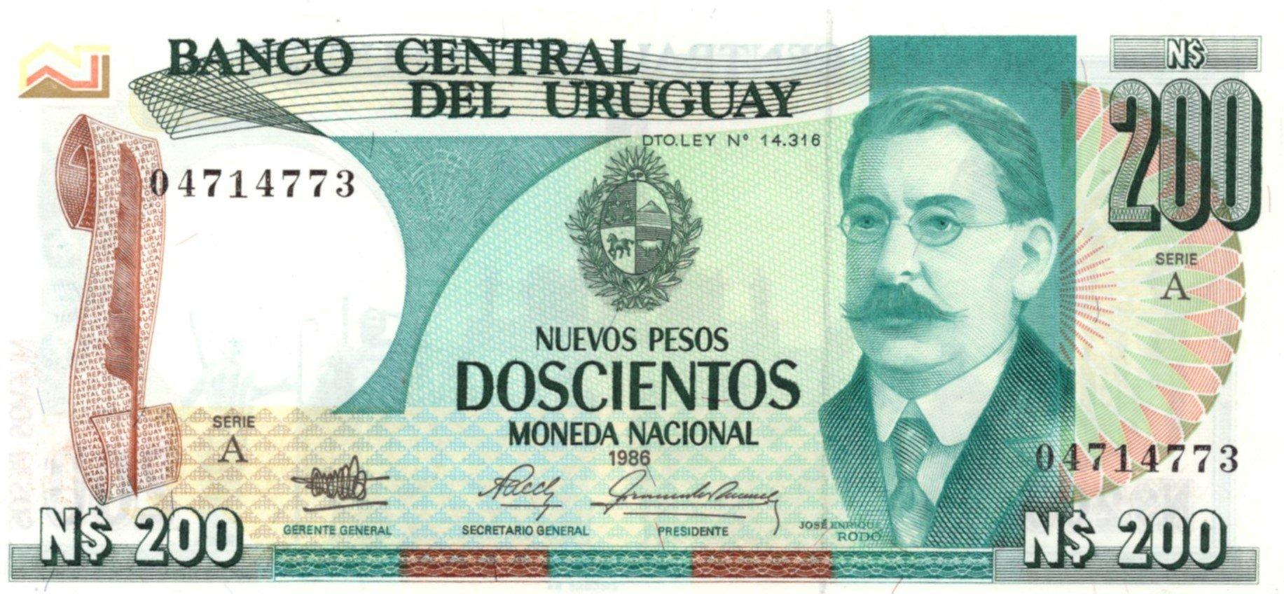 Uruguay 200 pesos 1986