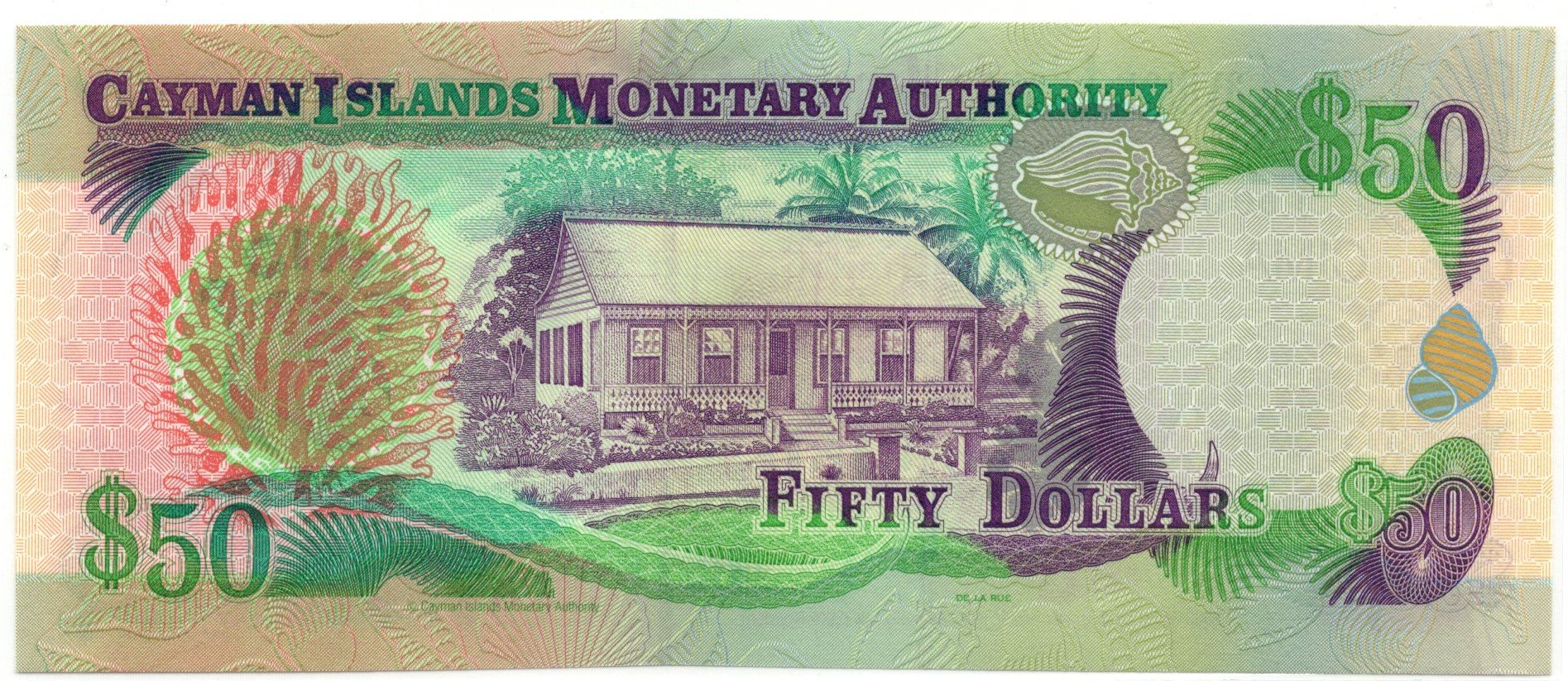 Cayman islands 50 dollars 2003 back