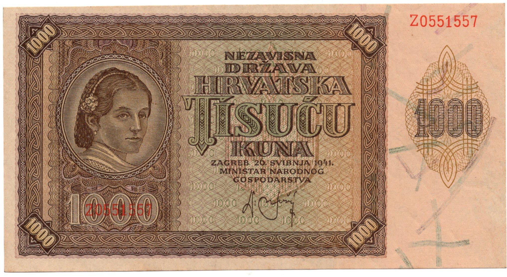 Croatia 1000 kuna 1941 for sale