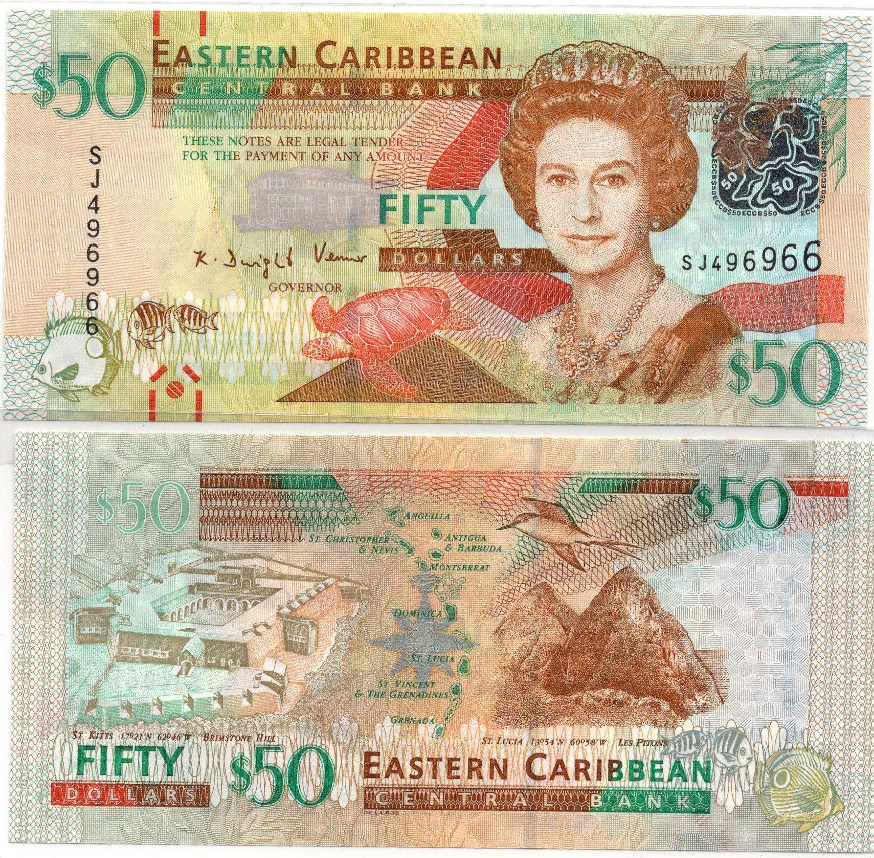 Eastern caribbean 50 dollars 2016 for sale