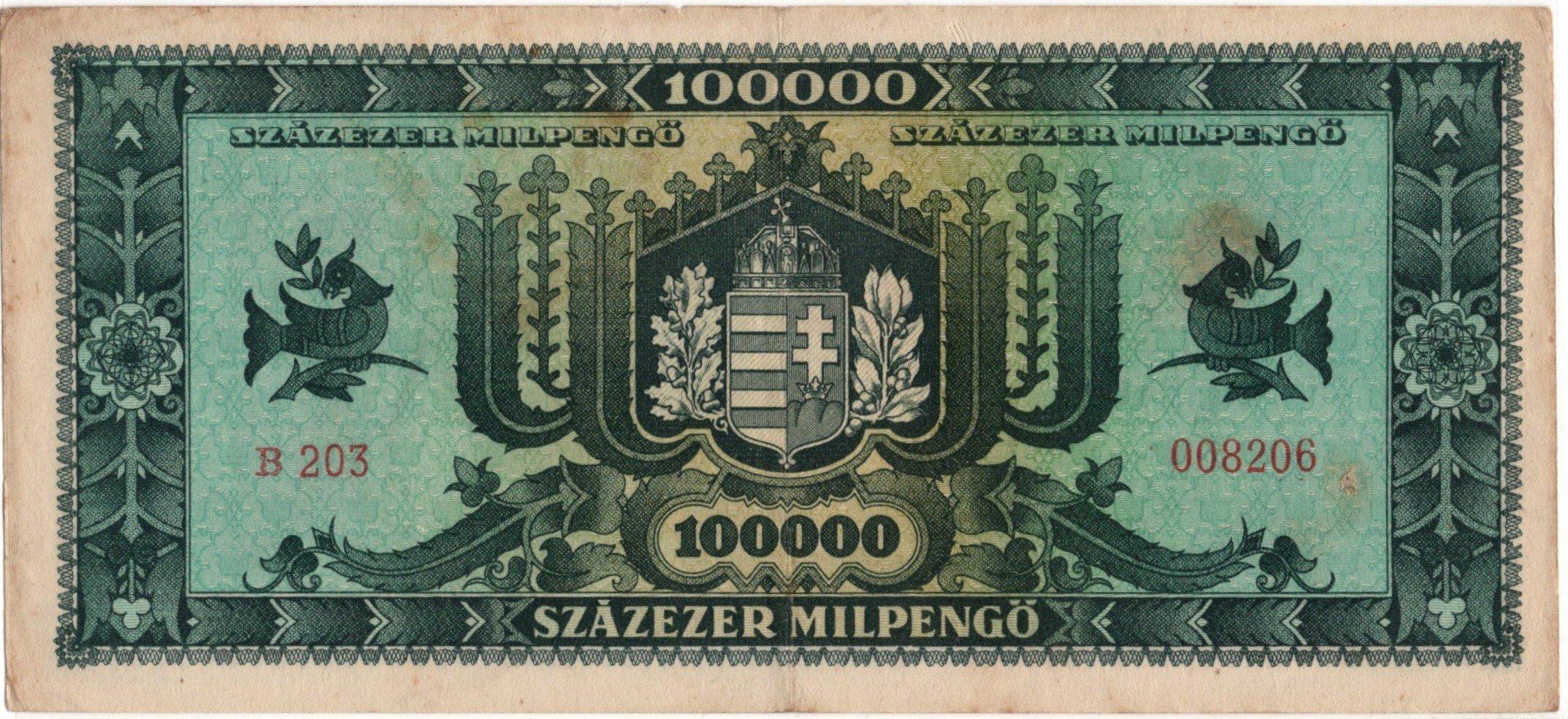 Hungary 100000 pengo 1946 back