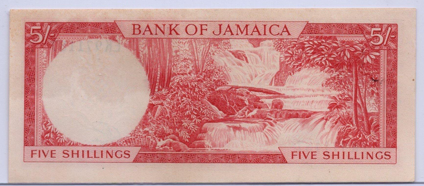 Jamaica 5 shillings back