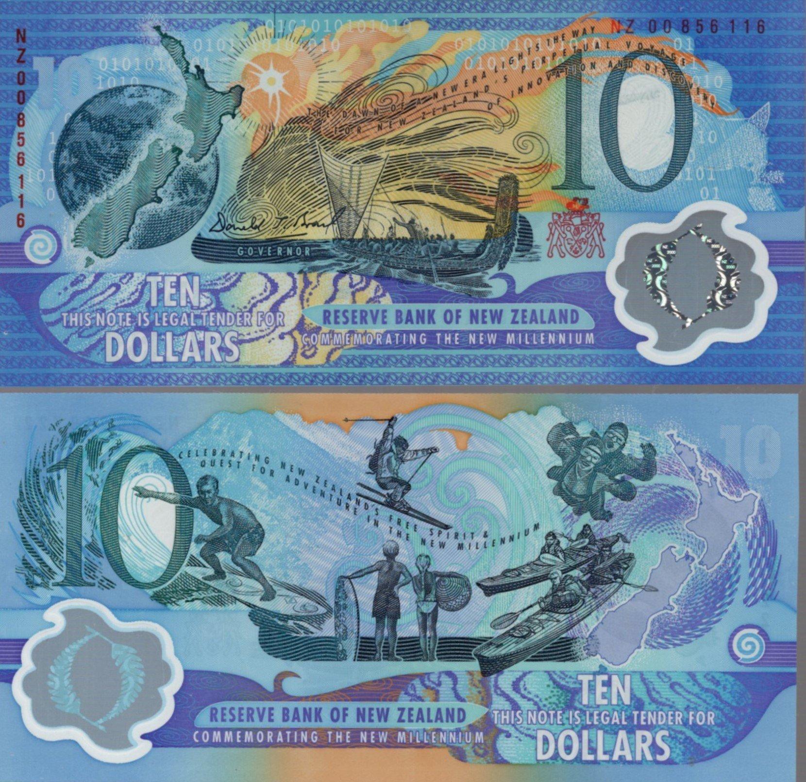 New zealand 10 dollars millenium